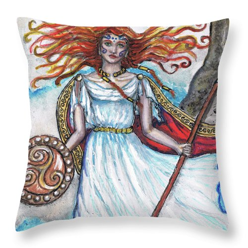 Celtic Mythology Throw Pillow featuring the painting The Morrigan by Janice T Keller-Kimball