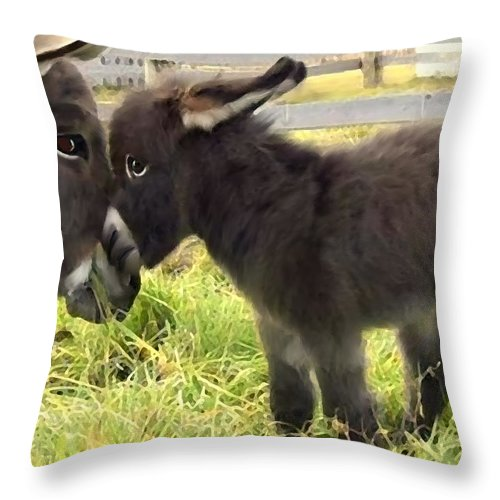 Donkey Throw Pillow featuring the digital art The New Arrival by Shere Crossman