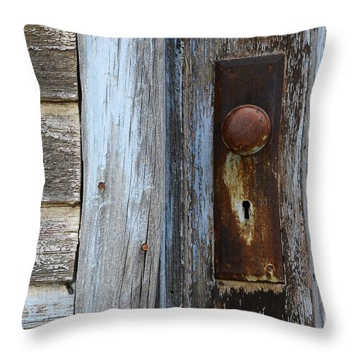 Door Throw Pillow featuring the photograph The Old Blue Door by Bob Christopher