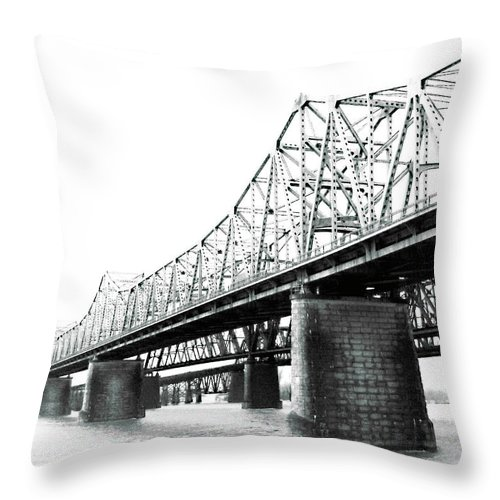 River Throw Pillow featuring the photograph The Old Bridges At Memphis by Lizi Beard-Ward