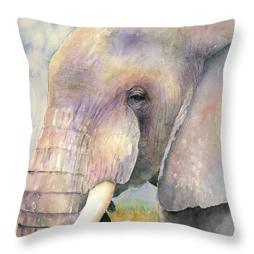 Elephant Throw Pillow featuring the painting The Old Bull by Arline Wagner