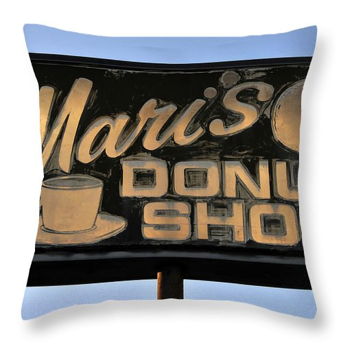 Fine Art Photography Throw Pillow featuring the photograph The Old Donut Shop by David Lee Thompson