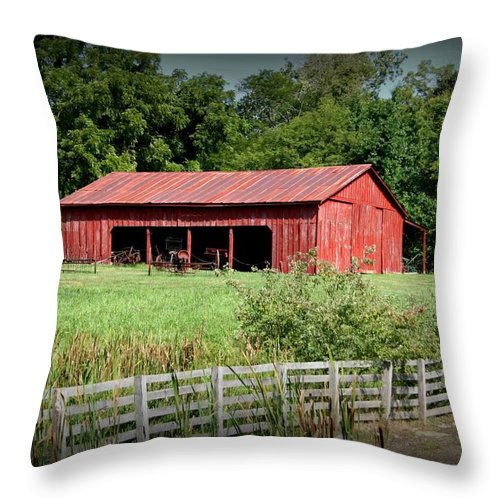 Barn Throw Pillow featuring the photograph The Old Tractor Shed In Vignette by David Dunham