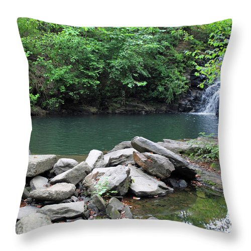 Waterfall Throw Pillow featuring the photograph The Ole Swimming Hole by Jost Houk