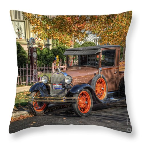 Ford Truck. 1929 Ford Throw Pillow featuring the photograph The Painted Lady's Gent by Pamela Baker