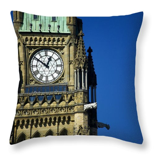No People Throw Pillow featuring the photograph The Peace Tower, On Parliament Hill by Pete Ryan