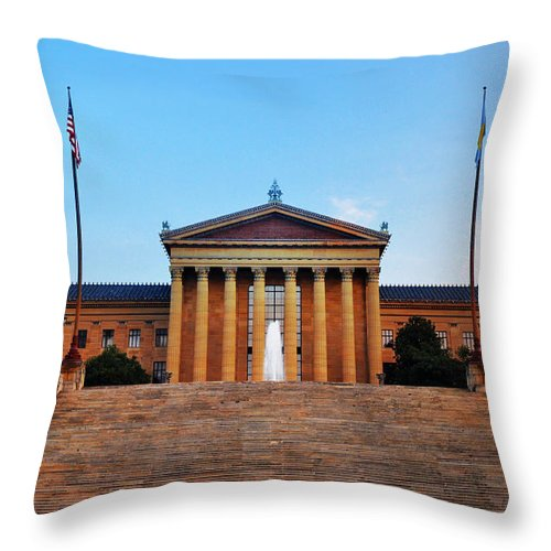 The Philadelphia Museum Of Art Front View Throw Pillow featuring the photograph The Philadelphia Museum Of Art Front View by Bill Cannon