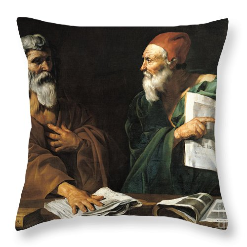 Philosophy Throw Pillow featuring the painting The Philosophers by Master of the Judgment of Solomon
