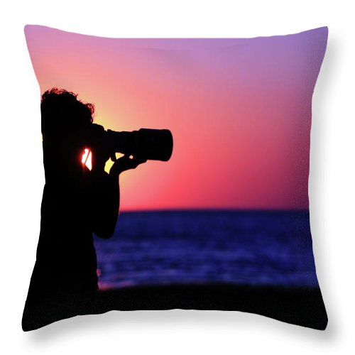 Sunset Throw Pillow featuring the photograph The Photographer by Rick Berk