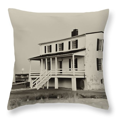 The Piney Point Lighthouse In Sepia Throw Pillow featuring the photograph The Piney Point Lighthouse In Sepia by Bill Cannon