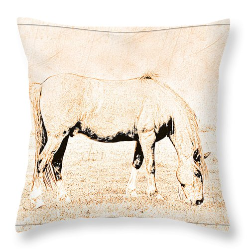 Nature Throw Pillow featuring the digital art The Pony by Debbie Portwood