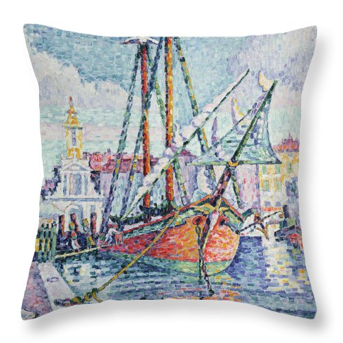 The Throw Pillow featuring the painting The Port by Paul Signac