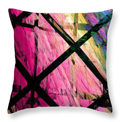 Abstract Throw Pillow featuring the digital art The Powers That Bind Us Square A by Andee Design
