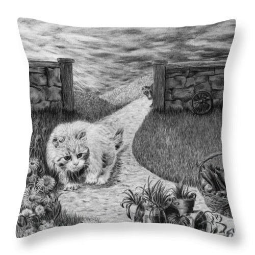 Predator Throw Pillow featuring the drawing The Predator And The Prey by Jyvonne Inman