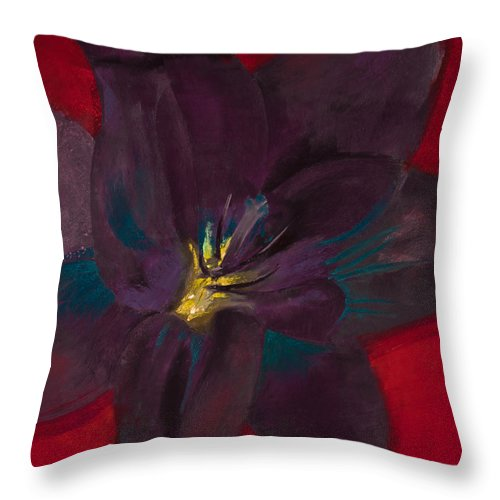 Pastel Throw Pillow featuring the painting The Purple Lily by David Patterson