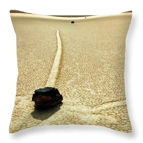 Death Valley Throw Pillow featuring the photograph The Racetrack 5 by Bob Christopher