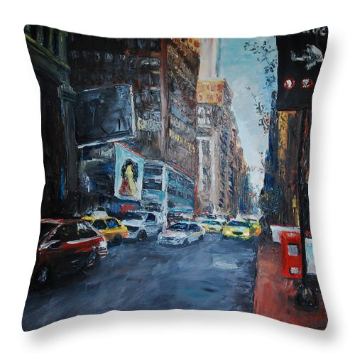 New York City Throw Pillow featuring the painting The Red Line by Lauren Luna