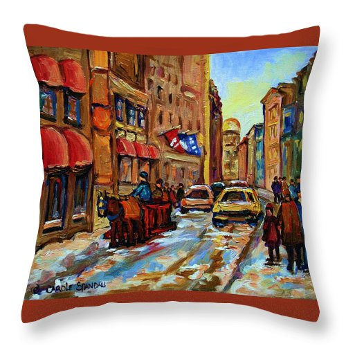 Horses Throw Pillow featuring the painting The Red Sled by Carole Spandau