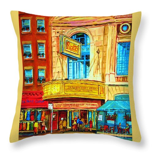 Street Scene Throw Pillow featuring the painting The Rialto Theatre by Carole Spandau