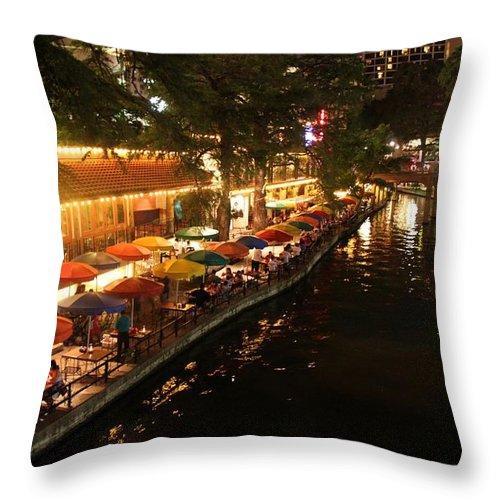 San Antonio Throw Pillow featuring the photograph The Riverwalk by Caroline Lomeli