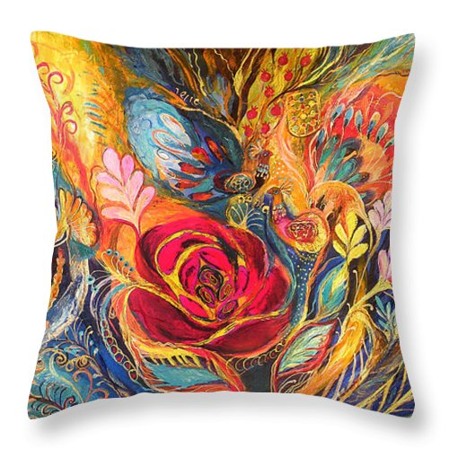 Original Throw Pillow featuring the painting The Rose Of East by Elena Kotliarker