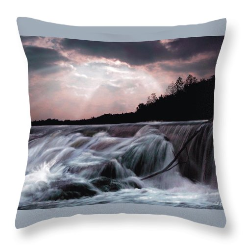 Waterfalls Throw Pillow featuring the digital art The Rush by Barbara Stephens