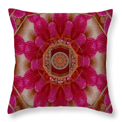 Mandala Throw Pillow featuring the mixed media The Sacred Orchid Mandala by Pepita Selles