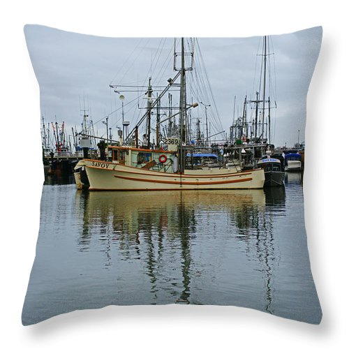 Fishing Boats Throw Pillow featuring the photograph The Savoy by Randy Harris