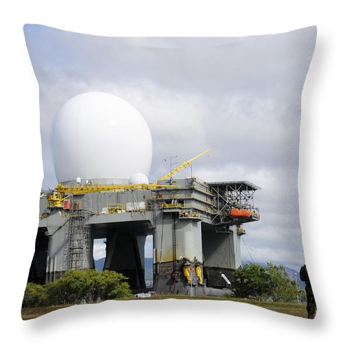 Hawaii Throw Pillow featuring the photograph The Sea Based X-band Radar, Ford by Stocktrek Images