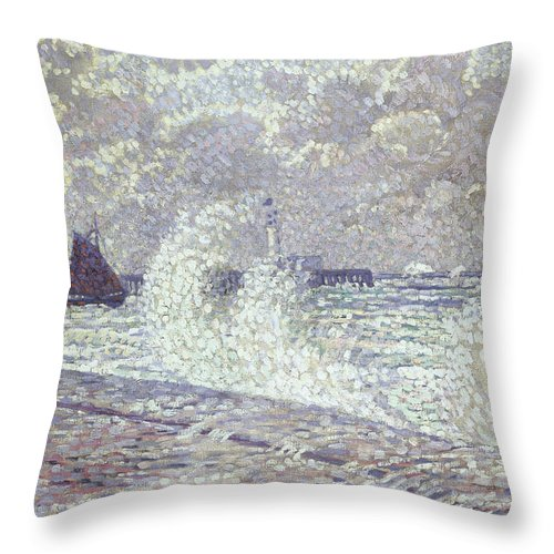 Sea Throw Pillow featuring the painting The Sea During Equinox Boulogne-sur-mer by Theo van Rysselberghe