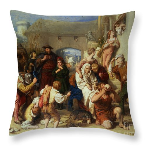 The Seven Ages Of Man Throw Pillow featuring the painting The Seven Ages Of Man by William Mulready