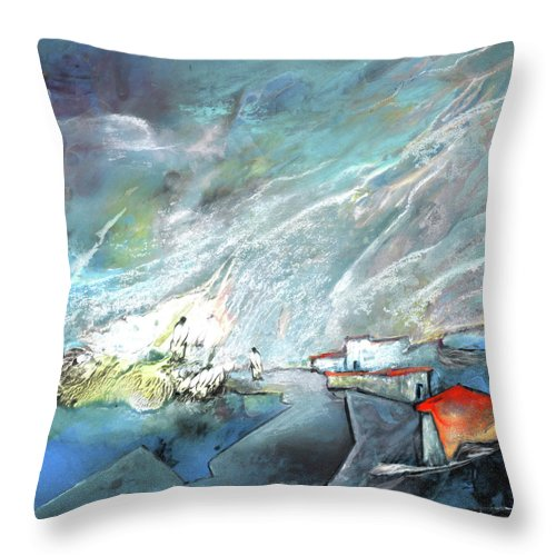 Impressionism Throw Pillow featuring the painting The Shores Of Galilee by Miki De Goodaboom