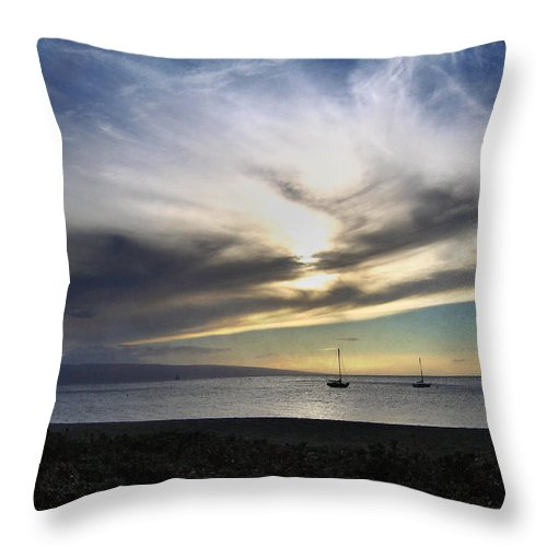 Maui Throw Pillow featuring the photograph The Sky Is Exploding by Laurie Search