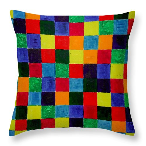 Abstract Painting Throw Pillow featuring the painting The Square Mandala by Rusty Gladdish