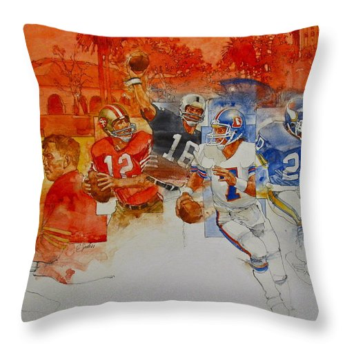 Acrylic Painting Throw Pillow featuring the painting The Stanford Legacy 1 Of 3 by Cliff Spohn