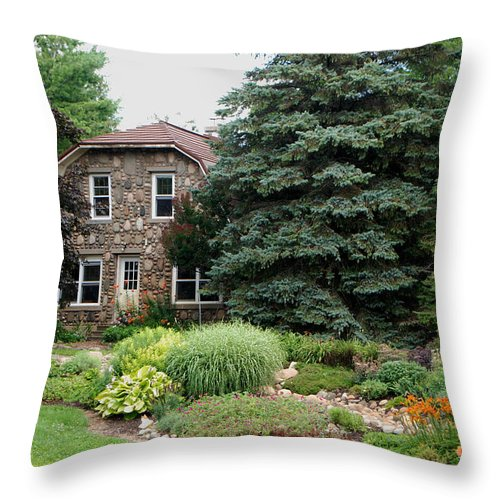 The Stone Cottage Throw Pillow featuring the photograph The Stone Cottage by Grace Grogan