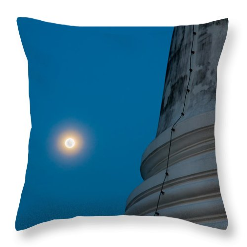 Ancient Throw Pillow featuring the photograph The Stupa In The Night During Full Moon by U Schade