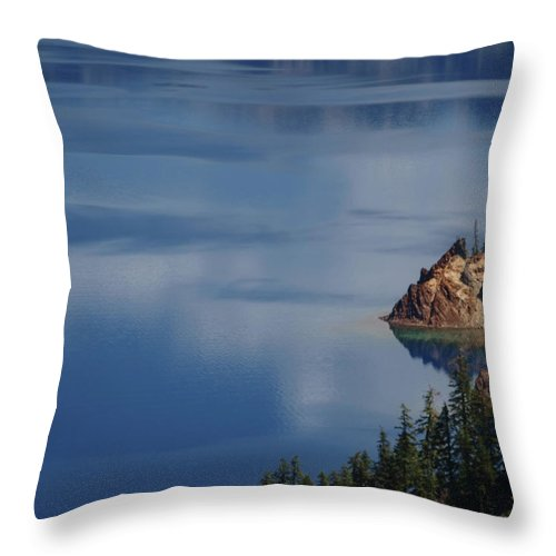 Trees Throw Pillow featuring the photograph The Surface Of Crater Lake by Teri Schuster