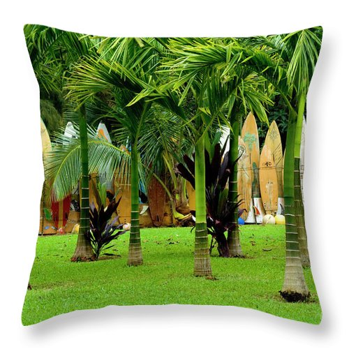 Surf Board Throw Pillow featuring the photograph The Surfboard Fence by Bob Christopher