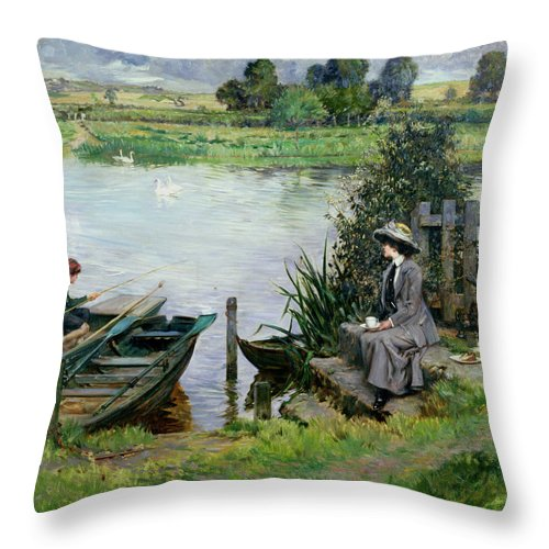 The Throw Pillow featuring the painting The Thames At Benson by Albert Chevallier Tayler