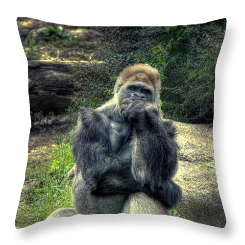 The Thinker Throw Pillow featuring the photograph The Thinker by William Fields