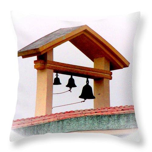 Al Bourassa Throw Pillow featuring the photograph The Three Bells by Al Bourassa