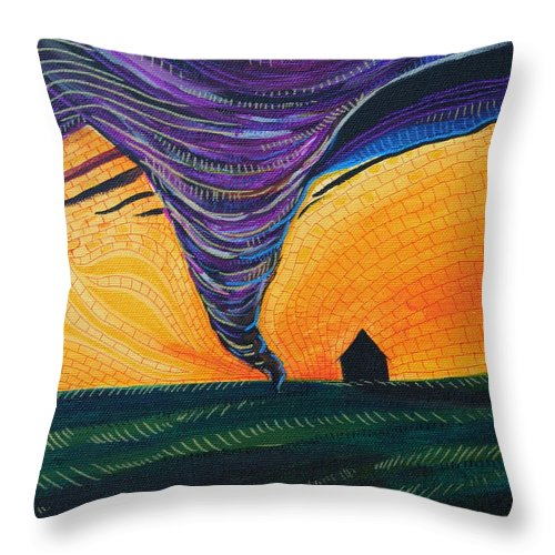 Wizard Of Oz Throw Pillow featuring the painting The Tornado by Kate Fortin