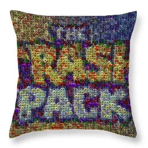 Eyeball Throw Pillow featuring the digital art The Trash Pack Eyeball Mosaic by Paul Van Scott