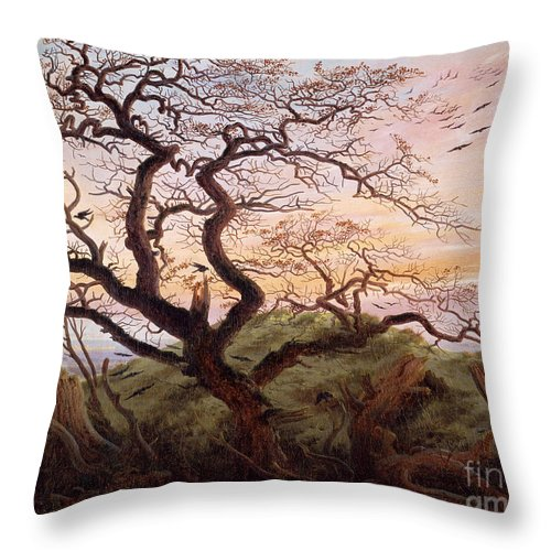 The Tree Of Crows Throw Pillow featuring the painting The Tree Of Crows by Caspar David Friedrich