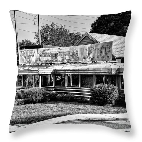 Trolley Car Throw Pillow featuring the photograph The Trolley Car Diner - Chestnut Hill Philadelphia by Bill Cannon
