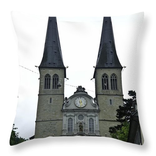 Building Throw Pillow featuring the photograph The Twin Spires Of Hof Church In Lucerne by Ashish Agarwal