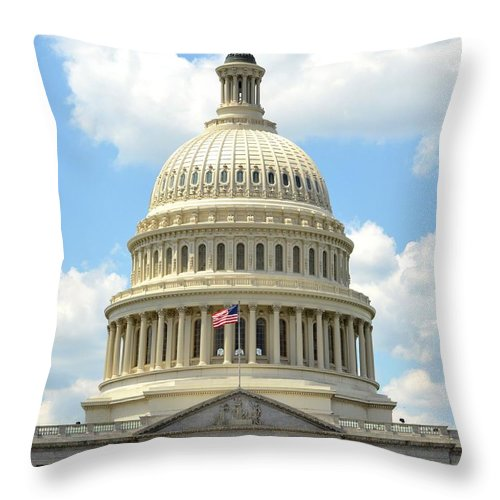 Us Capitol Throw Pillow featuring the photograph The Us Capitol by Pravine Chester
