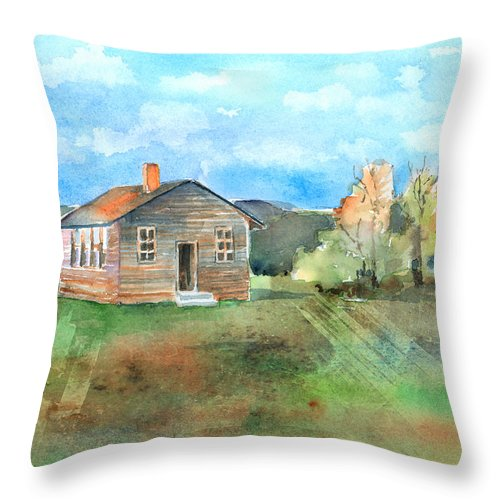 Schoolhouse Throw Pillow featuring the painting The Vacant Schoolhouse by Arline Wagner