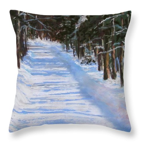 Snow Throw Pillow featuring the painting The Valley Road by Jack Skinner